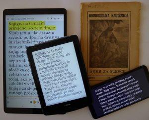 Knjiga prilagojena v digitalnem formatu na tablicah